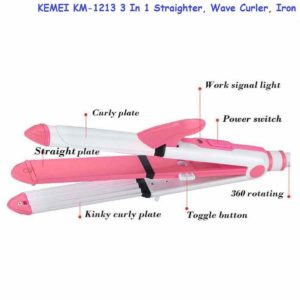 KEMEI KM-1213 3 In 1 Straighter, Wave Curler, Iron