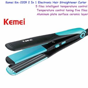 KEMEI KM-2209 2 In 1 Electronic Hair Straightener Curler