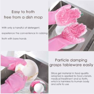 2 in 1 Magic Silicone Dish Washing Gloves