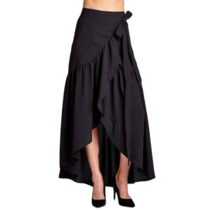 High Waist Black Long Cotton Asymmetrical Maxi Skirt with Slashes
