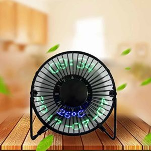 Mini Desktop USB LED Clock Calendar Fan