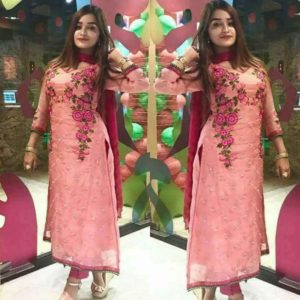 Floral Pink Embroidery Kameez Kurti Dress
