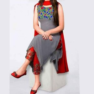 Gray Georgette Embroidery Salwar Kameez (Replica) Price in Bangladesh