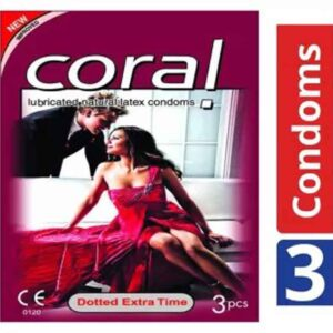 Coral Dotted Extra Time Lubricated Natural Latex Condoms